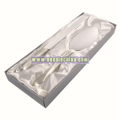 Silver Cake Server Set w/ Swarovski Crystals
