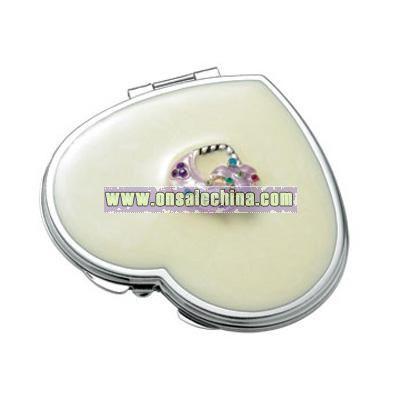 Pearl Marbleized Heart Compact Mirror w/ Purse Ornament