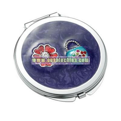 Purple Marbelized Round Compact Mirror w/ Flower & Purse Ornaments
