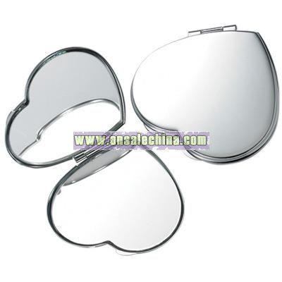Silver Heart Compact Mirror