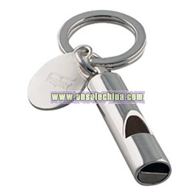 Whistle Keychain With Engraved Tag