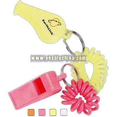 Coil wrist bracelet with plastic whistle.