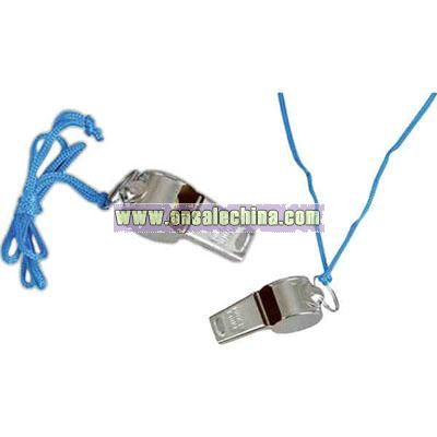 Small referee whistle with blue cord