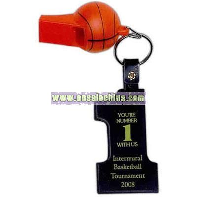 Basketball whistle with number one key tag