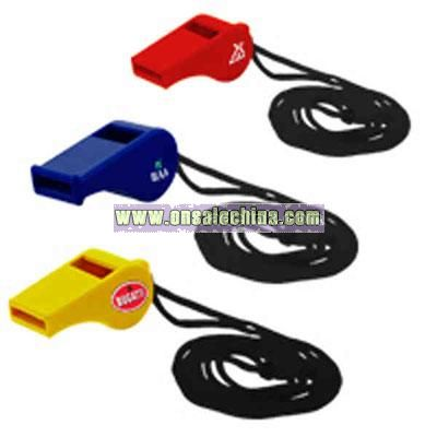 Plastic whistle with lanyard and plastic breakaway