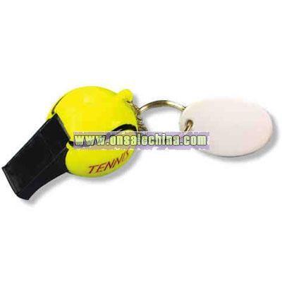 Tennis ball whistle key tag