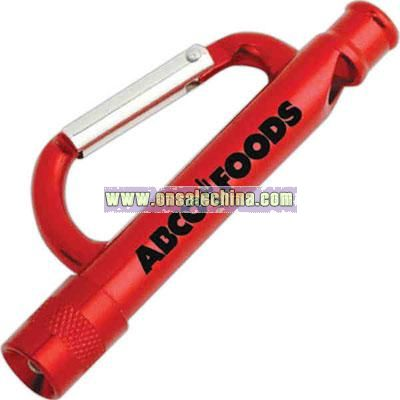 Carabiner flashlight with a white light and whistle
