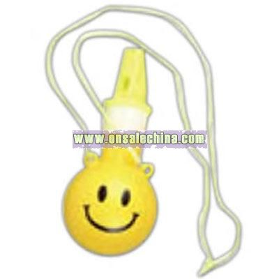 Smile face bubble whistle necklace