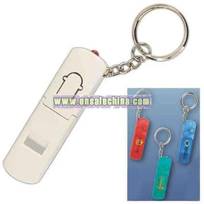 Safety key chain with whistle and key light