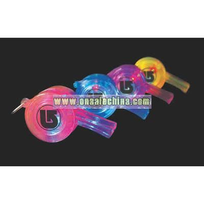 Printed flashing party whistle