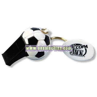 Soccer ball whistle key chain and oval plastic disc tag