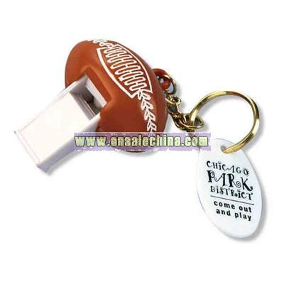 Football whistle key chain with oval plastic disc tag
