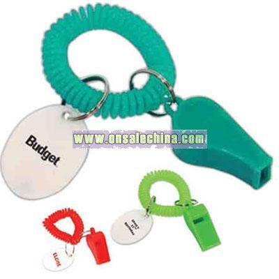 Whistle keychain wristband