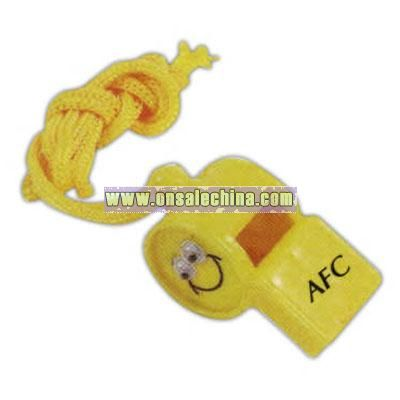 Smiley face whistle with rope