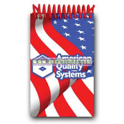 Plastic Spiral Mini Notepad with 72 sheets and American flag design
