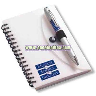 Spiral notebook with 80 sheets of paper and pen