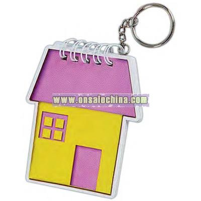 Key chain with house shaped notepad.
