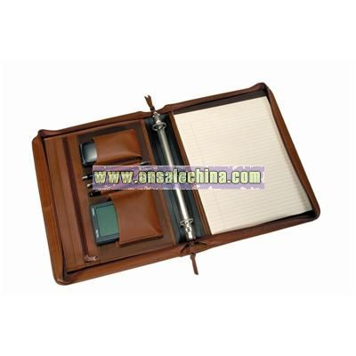 LEATHER Deluxe Convertible Zip Around Binder/Folio