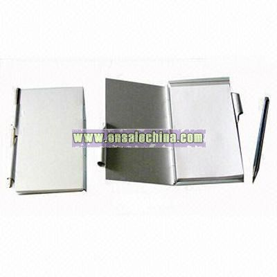 Aluminum Note Pad with Metal Pen and White Pape Insert